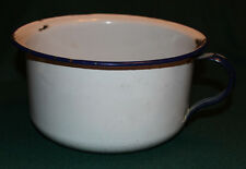 Antique Primitive Porcelain Enamelware White One Handled Chamber Pot Blue Trim