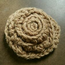 Crochet flower brooch, mocha color, handmade
