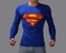 Superman Full Sleeve T shirt Round Neck Blue (KS111) (Size:- L)