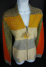 Large Change of the Moon Full Zip Sweater Lambswool Blend Cardigan Womens L