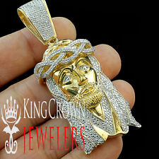 Genuine Diamond Yellow Gold Finish Jesus Face Piece 3 Inch  Pendant Charm 0.50ct