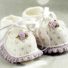 Knitting Pattern Baby Bootees Frill & Rose Design