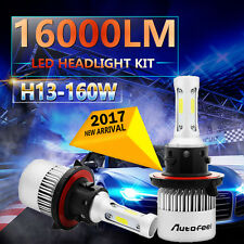 H13 160W 16000LM Hi/Lo Beam CREE LED Headlight Kit Bulbs White 6000K 9008 Power