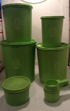 Vintage Lime Green Tupperware Canisters w Lids Set of 5 & 4 Pc. Measuring Cups