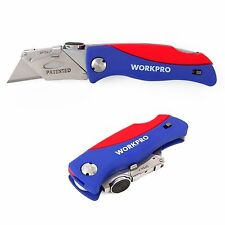 WORKPRO Lock Back Folding Utility Knife 5 Blades More Quick Change Heavy Duty