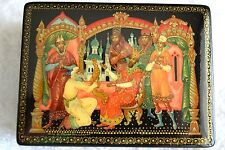 """RUSSIAN BLACK LACQUER BOX """"THE TSAR and THE GOLDEN COCKERAL"""" PALEKH VILLAGE"""
