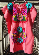 Maya Mexican Blouse Shirt Dress Embroidered Flowers Chiapas Puebla Pink Large