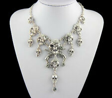 Hot Fashion Punk Style Silver Pirate Skull Cluster Rhinestone Bib Necklace