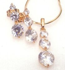 18K Yellow Gold Plated Simulated Diamond Wedding Stud Earrings Necklace Set
