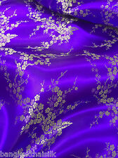 PURPLE & GOLD FAUX SILK SHANTUNG CHERRY BLOSSOM BROCADE FABRIC BTY DRAPE DRESS