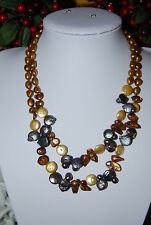FANTASTIC DOUBLE STRAND HK NECKLACE OF FRESH WATER PEARLS COIN AND BAROQUE BEADS