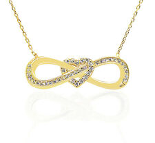 Heart Infinity Charm Pendant Love Forever Sterling Silver & CZ Crystal Necklace