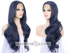 Best Dark Blue Lace Front Wigs Synthetic Hair Long Wavy Full Wig Heat Resistant