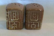 Vintage Frankoma Mayan Aztec Design Salt and Pepper Shakers Desert Gold