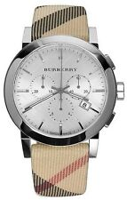 Burberry Men's City Leather Strap Nova Check Chronograph Watch BU9357