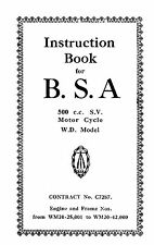 W.D BSA M20 500cc S.V. instruction book