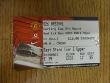 01/12/2004 Ticket: Manchester United v Arsenal [Football League Cup] . Thanks fo