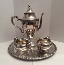 VINTAGE SILVERPLATE 4 PIECES TRAY & TEAPOT SET WITH CREAMER AND SUGAR