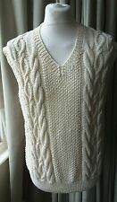 Aran Hand Knitted Tank Top Cable Sleeveless Jumper - Large EXCELLENT COND