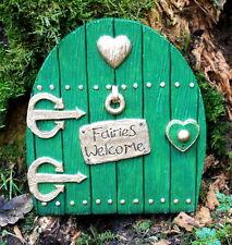 """GREEN FAIRY DOOR LARGE IN/OUTDOOR GARDEN ORNAMENT """"FAIRIES WELCOME"""""""