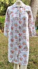 Flannel Floral Pearl Snap Front Nightgown Small S  Robe, House Coat Vintage  T5