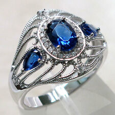 ADORABLE THREE STONE SAPPHIRE 925 STERLING SILVER RING SIZE 7