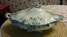 OLD ~ UPPER  HANLEY SEMI-PORCELAIN TRELLIS POTTERY OF ENGLAND COVERED CASSEROLE
