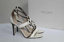 New Jimmy Choo Venus Tubular White Leather Strappy Sandals Heels Shoes sz 9 / 39