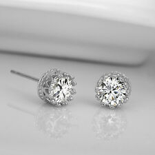 Fashion Lovely Lady 925 Sterling Silver Rhinestone Crown Set Ear Stud Earrings