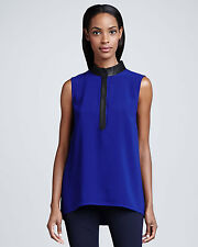 Elie Tahari Tiffany Brilliant Blue Leather-Trim Blouse Top  .NWT  X-Small