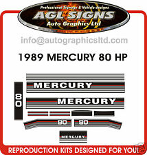 1989 MERCURY 80 hp OUTBOARD DECAL SET    ALSO IN 70 & 90 HP