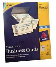 """150 Pcs 2"""" x 31/2"""" Business Cards for Inkjet Printers, Matte, Ivory"""