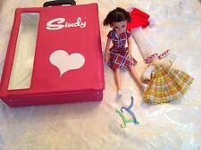 Vintage pedigree Sindy brunette with collector case and outfits