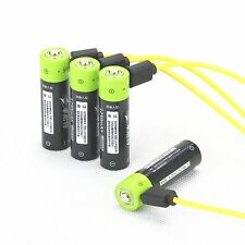 4pc 1.5V AA 1250mAh LiPo rechargeable lithium li-ion battery + USB charging line