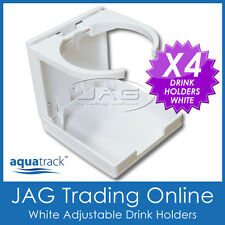 4 x ADJUSTABLE FOLDING WHITE DRINK HOLDERS- Boat/Marine/Caravan/Car/4x4/RV/Cup W