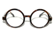 Men's Women's Lennon Clear Glasses Retro Hippie Shades round brown Frame Potter