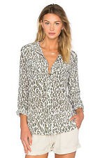 NWT Equipment Slim Signature Cheetah Print Silk Shirt/Top-Army Jack Green -Large