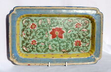17TH / 18THC CHINESE STONEWARE DISH / TRAY DECORATED HAND PAINTED FLOWERS FLORAL