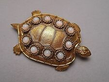 Butler & Wilson Large Antiqued Gold Tone Turtle Brooch w/ Faux Opal Cabochons