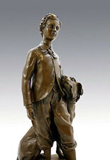 Jugendstil Bronze THE PRINCE IMPERIAL WITH HIS DOG NERO , signed J. B. CARPEAUX