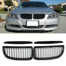Front Kidney Grille Grill Gloss Black Set For BMW E90 3-Series Sedan Wagon 05-08