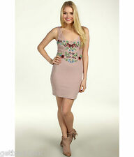 NEW✿ Free People MINI DRESS S $168 RETAIL Pink Embroidered Bodycon Secret Eden