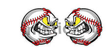 2x Mad Baseball Sticker Decal Car Truck Bumper Angry MLB Racing JMD