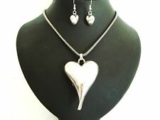 Stunning Chunky Big Silver Puff Heart Statement Necklace / Pendant Earring Set