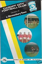 CARDIFF CITY V SHREWSBURY TOWN   2ND DIVISION  8/9/79