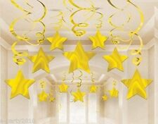 GOLD SHOOTING STARS HANGING SWIRL DECORATIONS (30) ~ Birthday Party Supplies