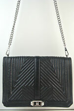 Rebecca Minkoff LOVE GEO QUILTED Black Leather Jumbo Crossbody