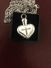 Memorial Cremation Jewellery/Pendant/Urn/Keepsake for Ashes-Silver Heart & Cross