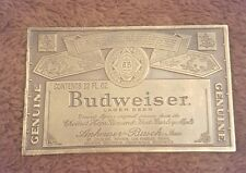 "Vintage 1970s Brass Belt Buckle Budweiser King Of Beers 12oz Label 4"" Nice A-168"