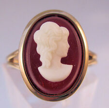Vintage Costume Cameo Ring Adjustable Gold Plated Old New Stock Jewelry